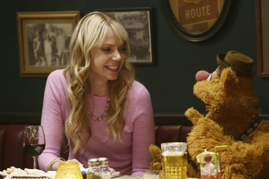 """THE MUPPETS""- RIKI LINDHOME, FOZZIE BEAR.  JOYCE KIM LEE, COSTUME DESIGNER."