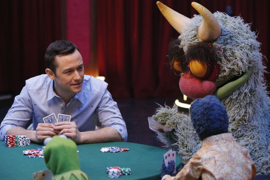 """THE MUPPETS""- JOSEPH GORDON-LEVITT, KERMIT THE FROG, THE GREAT GONZO, BIG MEAN CARL.  JOYCE KIM LEE, COSTUME DESIGNER."