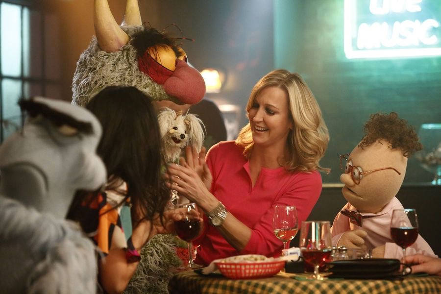 """THE MUPPETS""- SAM EAGLE, BIG MEAN CARL, FOO-FOO, LARA SPENCER, CHIP.   JOYCE KIM LEE, COSTUME DESIGNER."