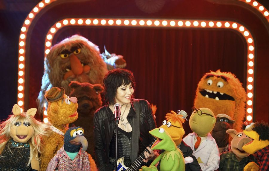 """THE MUPPETS""- MISS  PIGGY, FOZZIE BEAR, SWEETUMS, THE GREAT GONZO, BOBO THE BEAR, JOAN JETT, KERMIT THE FROG, SCOOTER, DR. BUNSEN HONEYDEW, BEHEMOTH, LEW ZEALAND.   JOYCE KIM LEE, COSTUME DESIGNER."