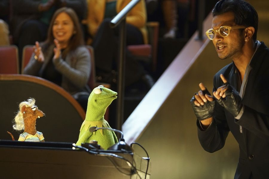 """THE MUPPETS""- YOLANDA, KERMIT THE FROG, UTKARSH AMBUDKAR.   JOYCE KIM LEE, COSTUME DESIGNER."