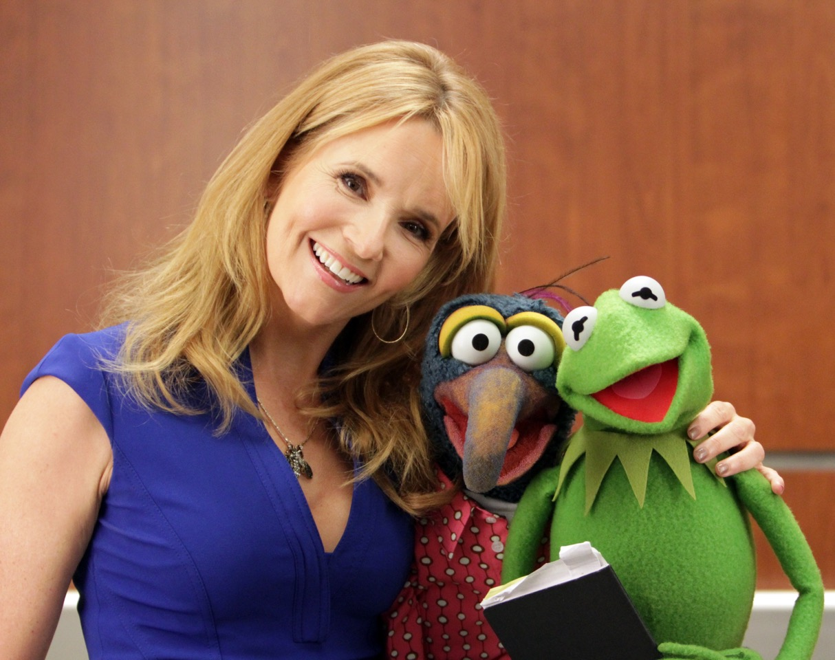 """THE MUPPETS""- LEA THOMPSON, GONZO THE GREAT, KERMIT THE FROG.  JOYCE KIM LEE, COSTUME DESIGNER."